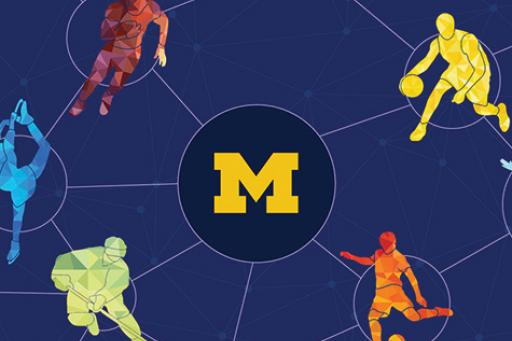 University of Michigan logo surrounded by silhouettes of athletes.